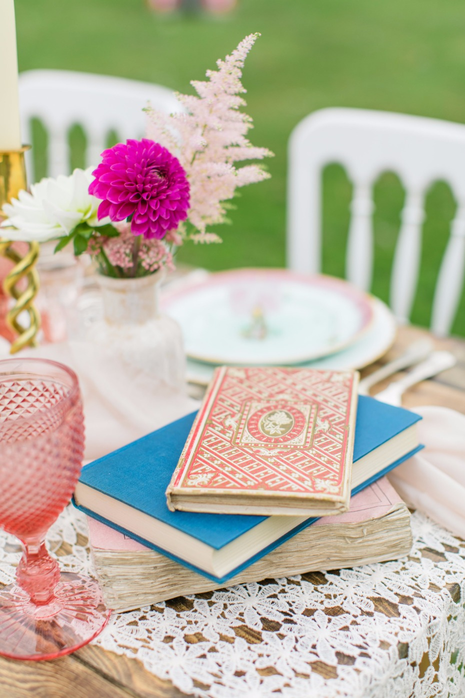 Create a centerpiece with vintage books