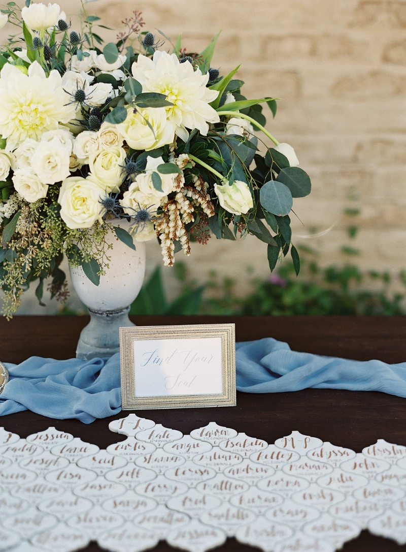 Escort Cards White tiles with gold calligraphy at Santa Barbara Historical Museum