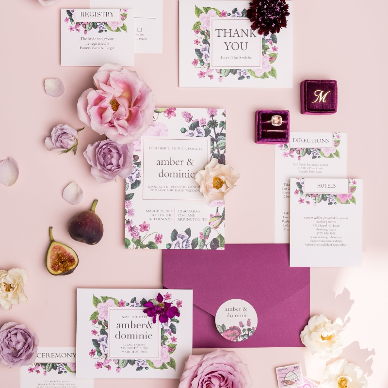 Pretty pink wedding suite, perfect for any girly-girl bride. Choose your favorite color scheme and customize yours today!