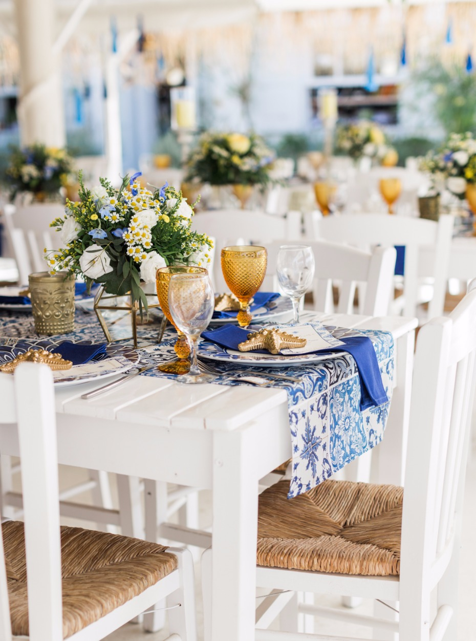 Blue yellow and white reception decor