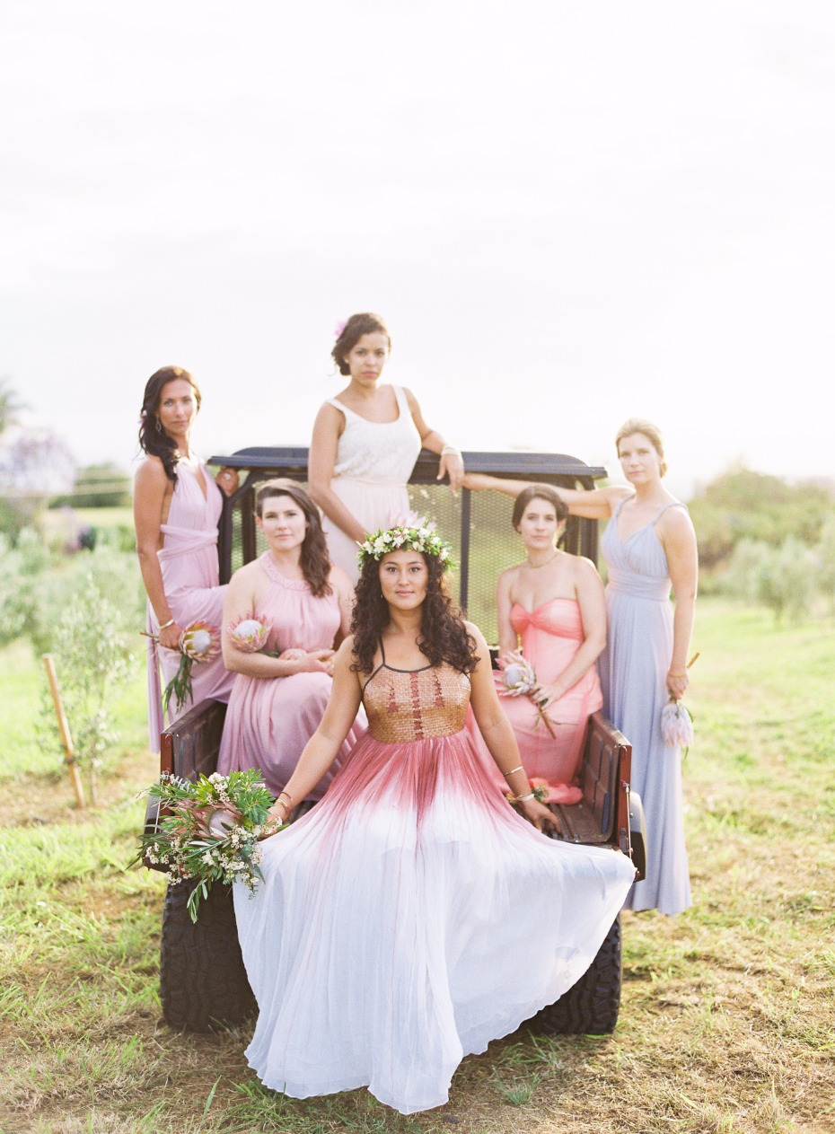 summer time bridal party in soft pastels