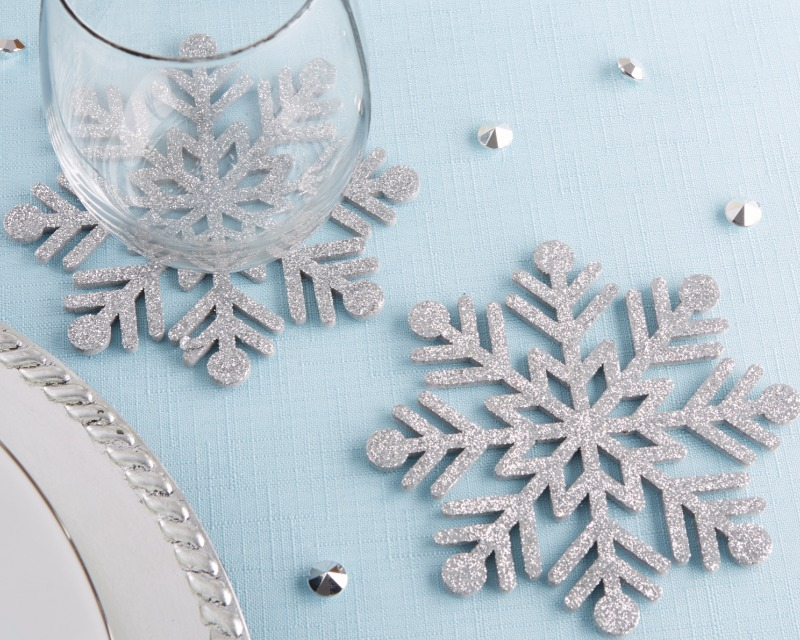 These Silver Glitter Snowflake Felt Coasters are a stunning decor piece to incorporate into your next winter wedding or holiday party