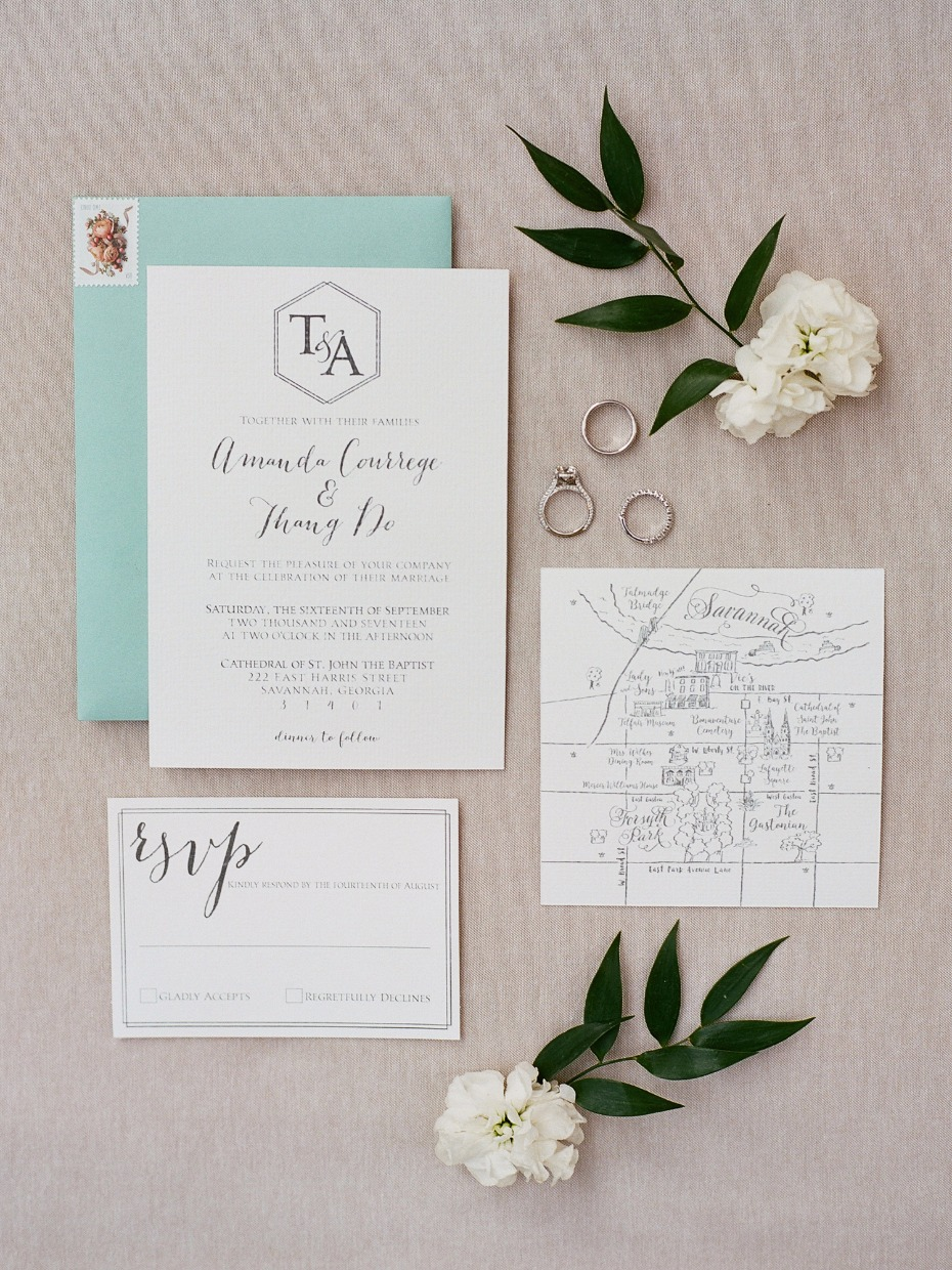 Monogrammed invitation suite