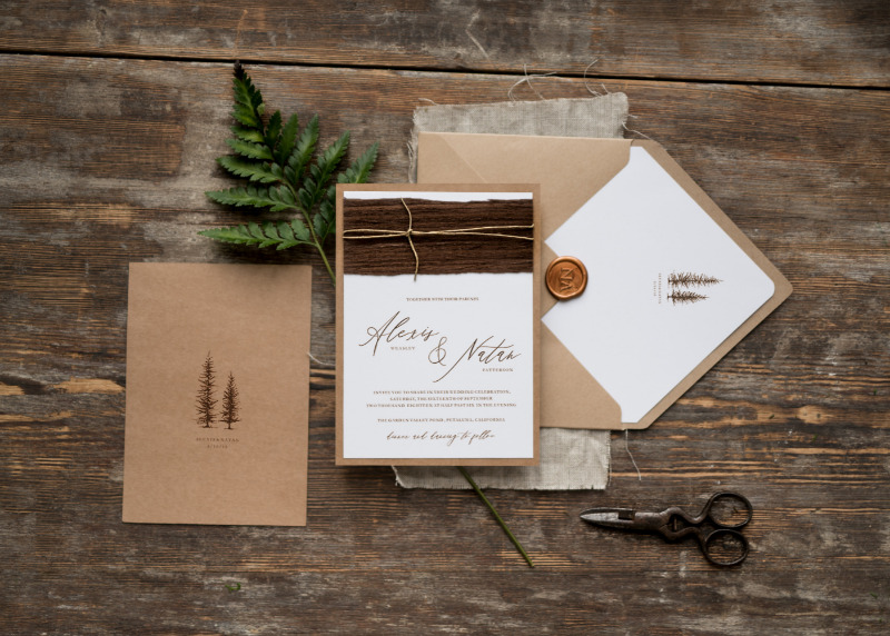 Eco calligraphy wedding invitation with touch of wood