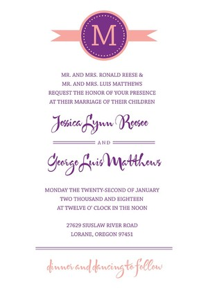 Modern Monogram Free Printable Wedding Invites