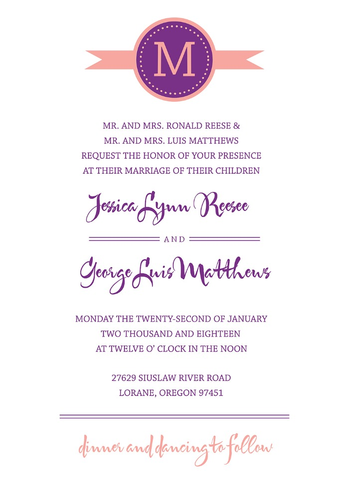Print - Modern Monogram Free Printable Wedding Invites