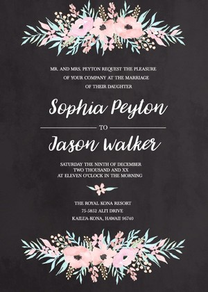 Pink Watercolor Flower Free Printable Wedding Invite