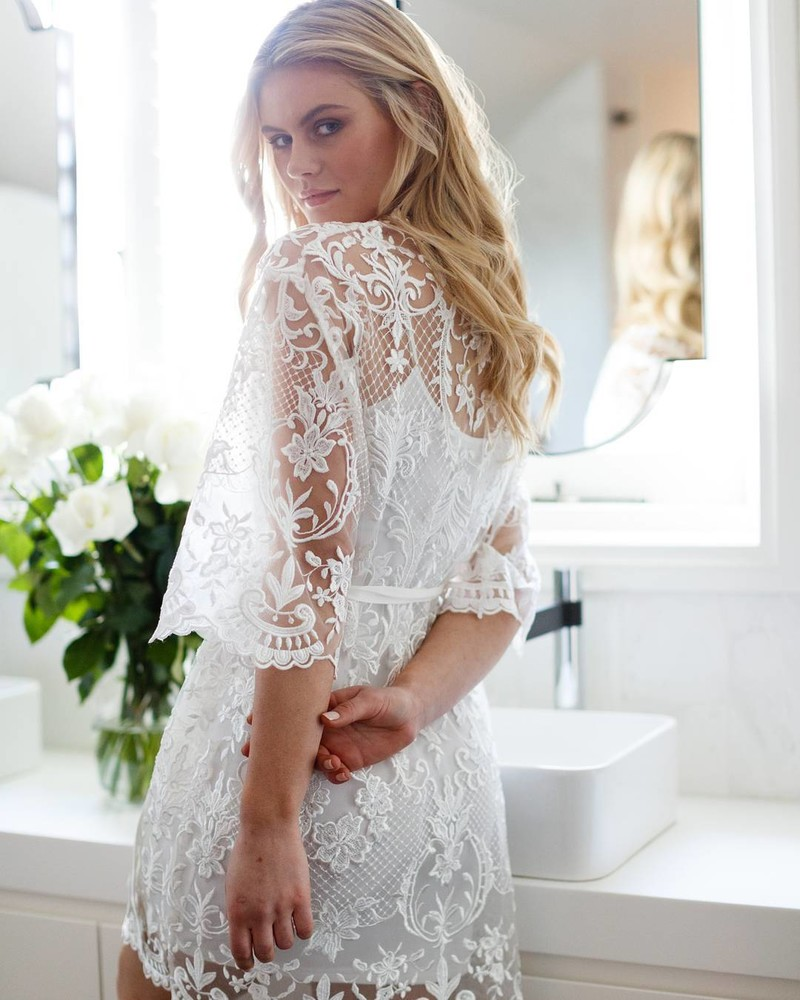 Lace details✨the 'Celeste' bridal robe is made from the most beautiful lace and features silk trims. Available online | Shipping