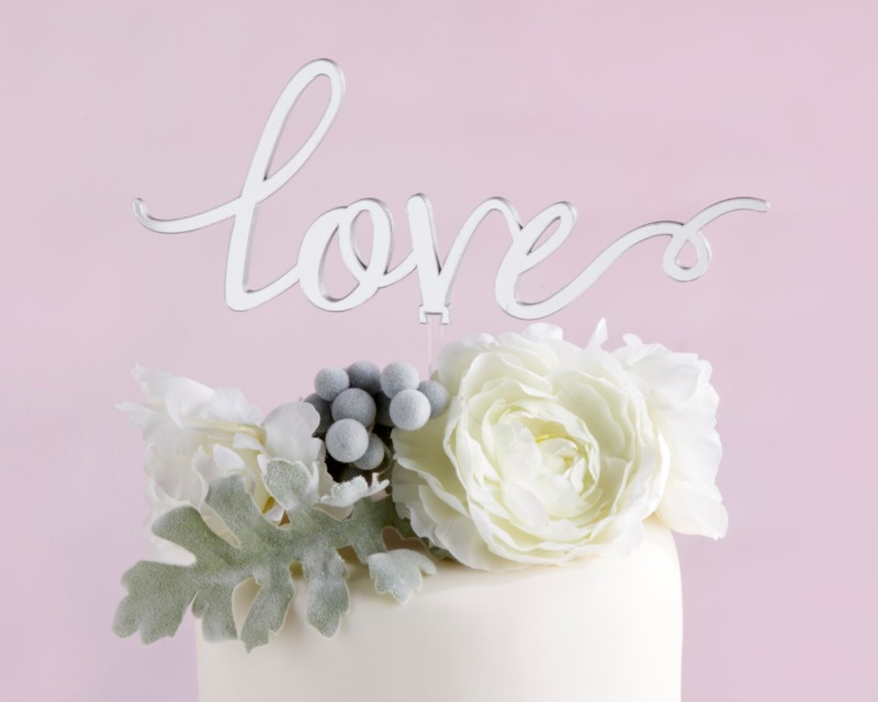 💕 Whimsical and timeless, this Silver Mirror Love Cake Topper features mirroring on both sides, and an acrylic stick adheres your