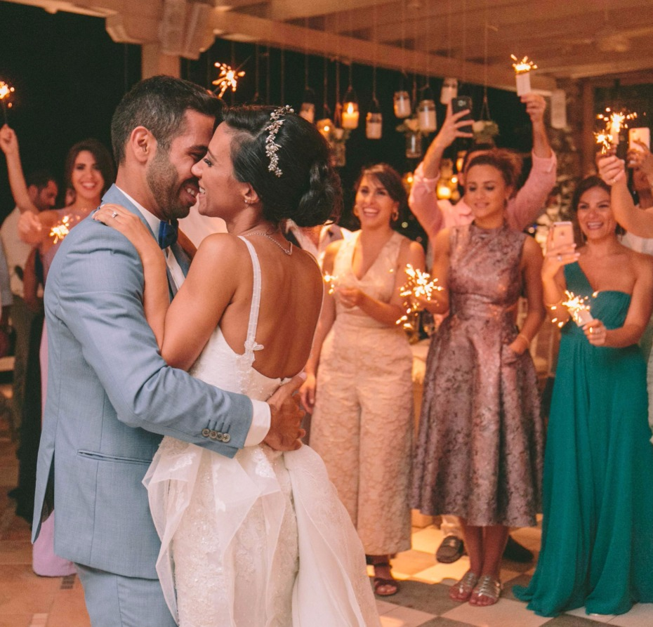 first dance surrounded by loved ones and sparklers