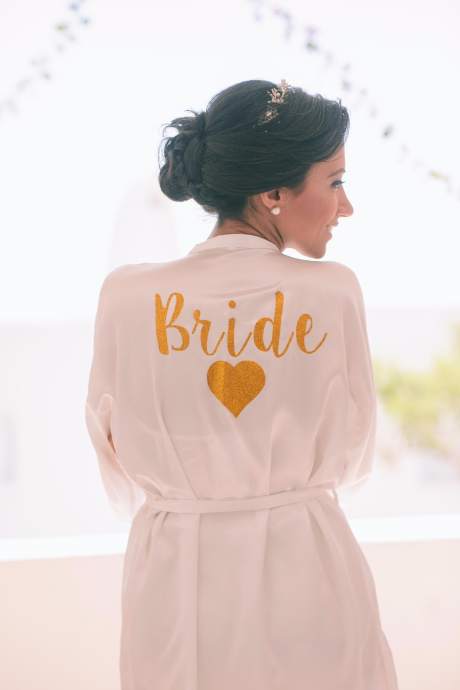 sweet gold Bride getting ready robe