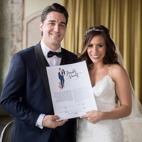 Jennifer & Vincent rocking their custom Ketubah like no other! Wedding goals galore is all we have to say. We adore you end of