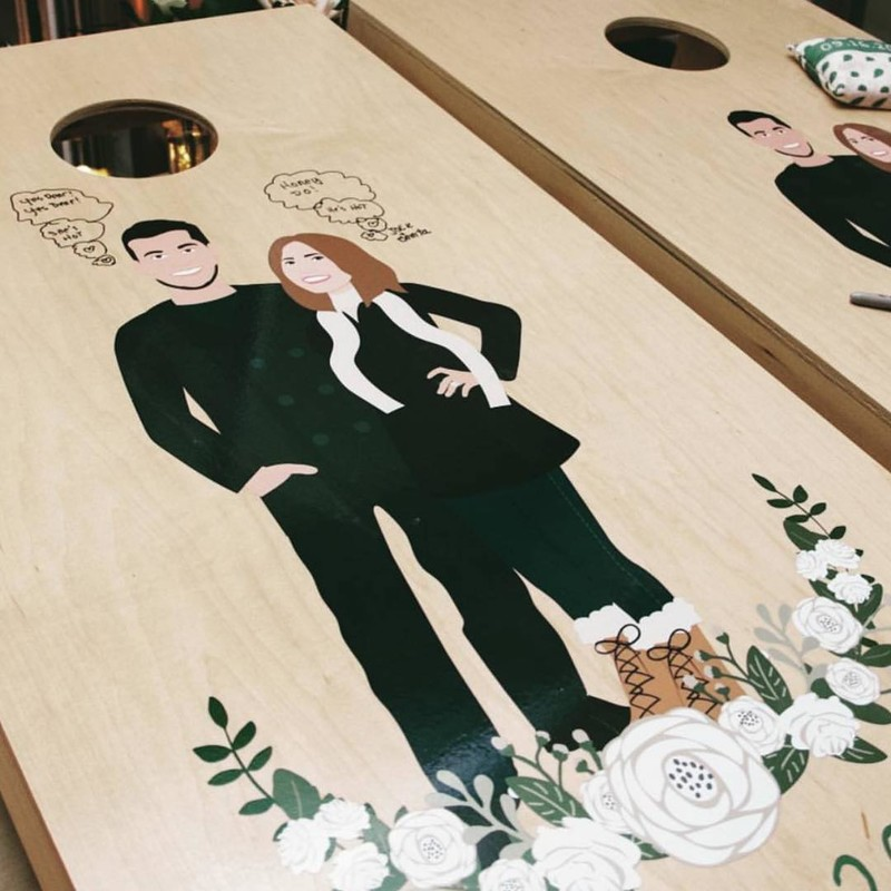 ✨SHOP LINK IN PROFILE ☝🏻Our custom cornhole boards are not only amazing decor and fun to play at your reception, but they are
