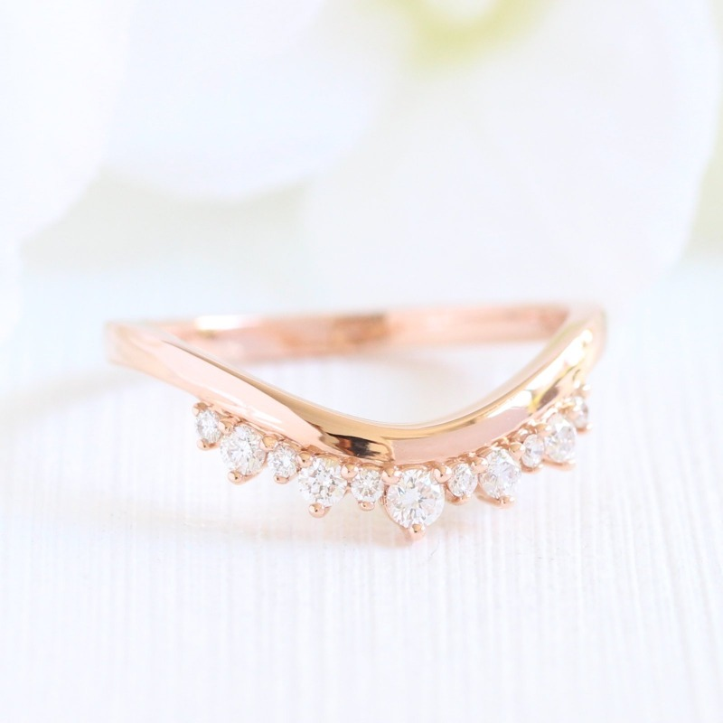 Crown Diamond Ring in Rose Gold Curved Plain Band by La More Design in NYC