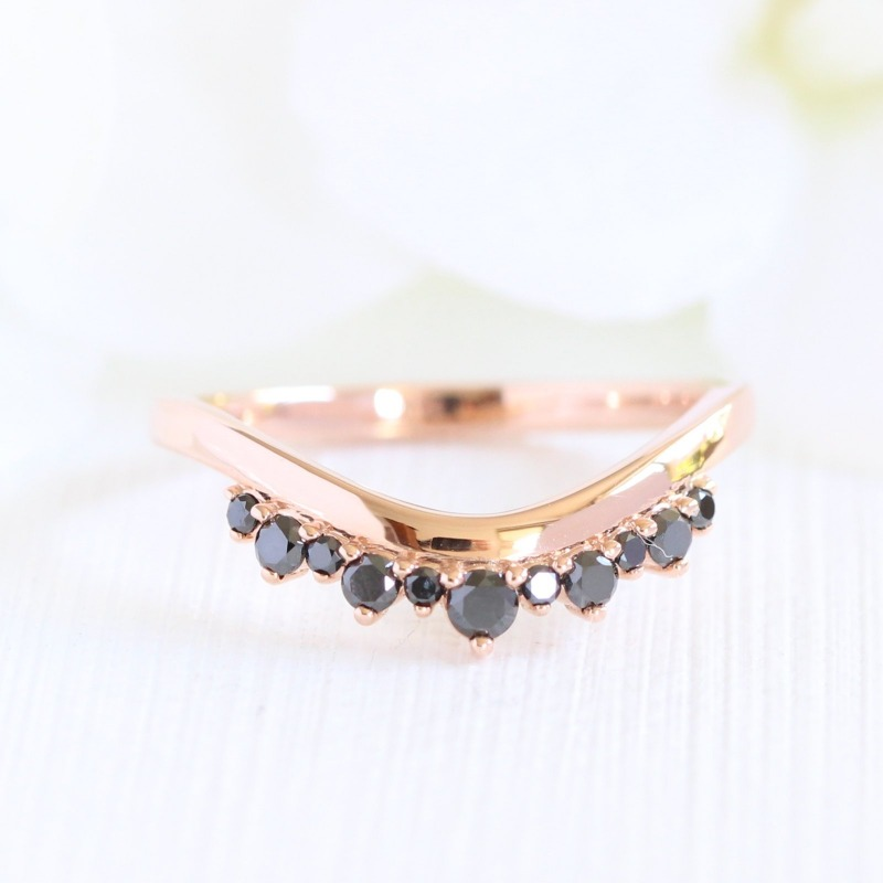Black Diamond Crown Band in Rose Gold Curved Plain Band by La More Design in NYC