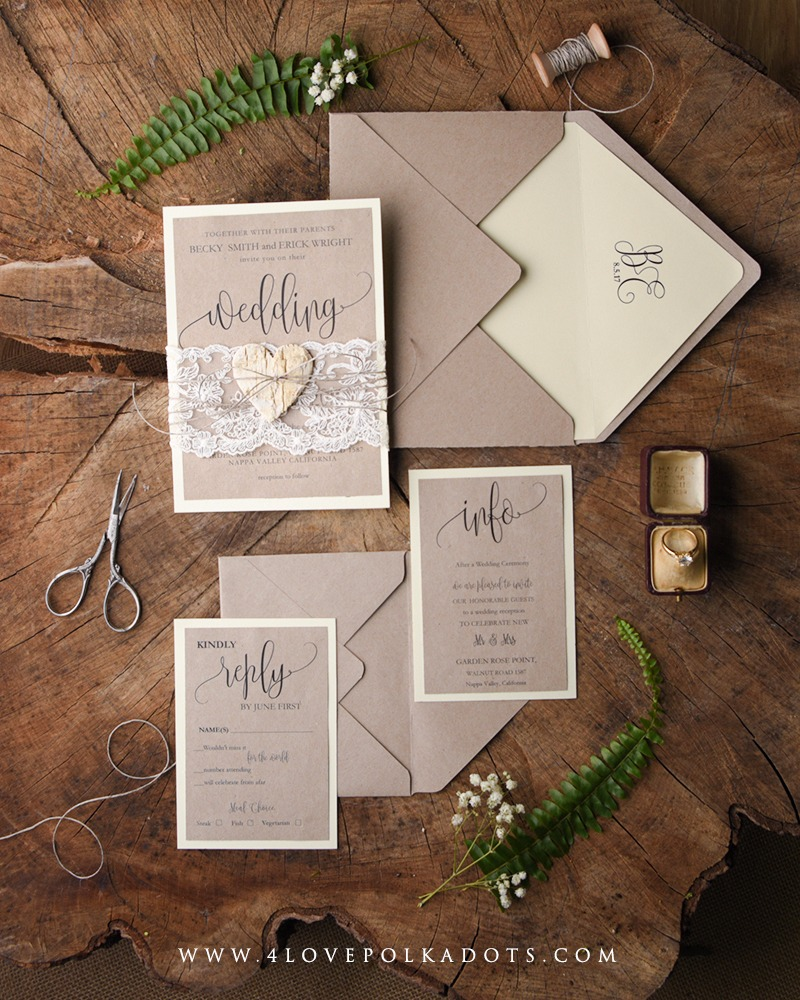Wedding invitations with #lace and wood