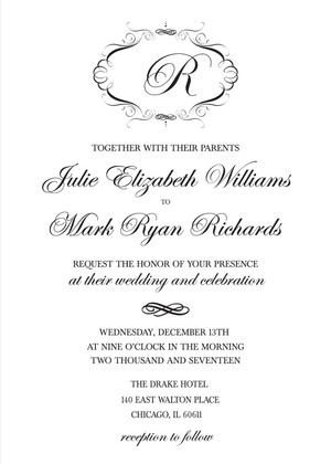 Elegant Monogram Free Printable Wedding Invitations