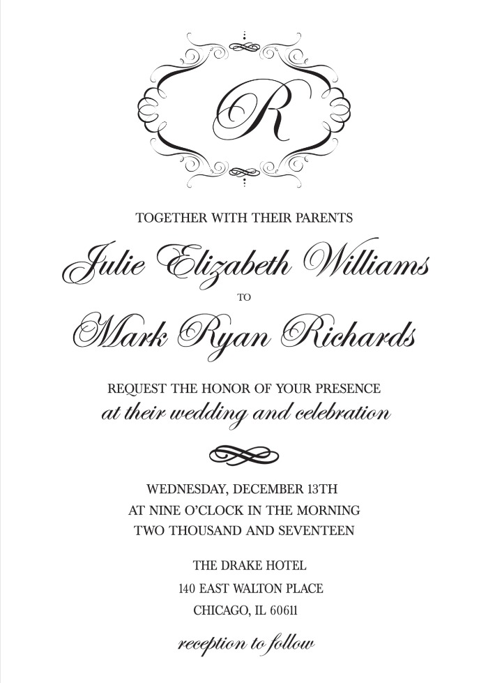 Print Elegant Monogram Free Printable Wedding Invitations