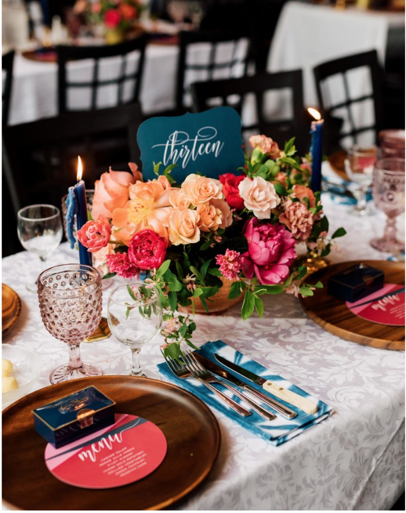 Kristin and Tom's Toronto wedding was all the feels! Bold bright colors with dreamy taper candles, everywhere you looked you found