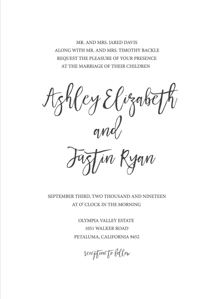 Print Timeless And Simple Wedding Invitation
