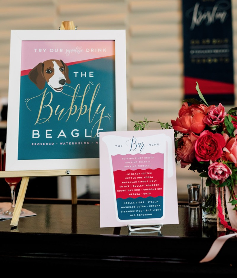 When your dog steals the show without even being at the wedding... Miss Design Berry specializes in custom illustrated signage and