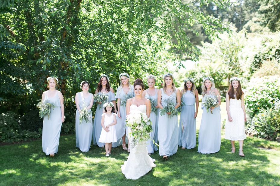 Mix and match bridesmaid dresses in blue