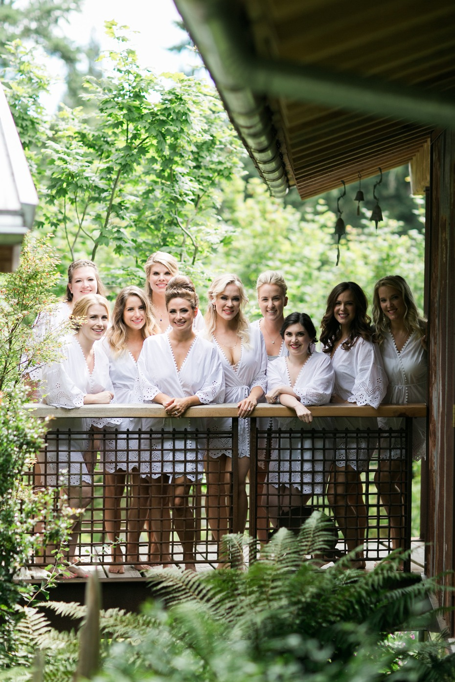 Matching white bridesmaid robes