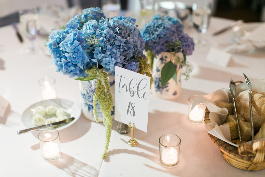 Simple centerpiece with blue hydrangeas