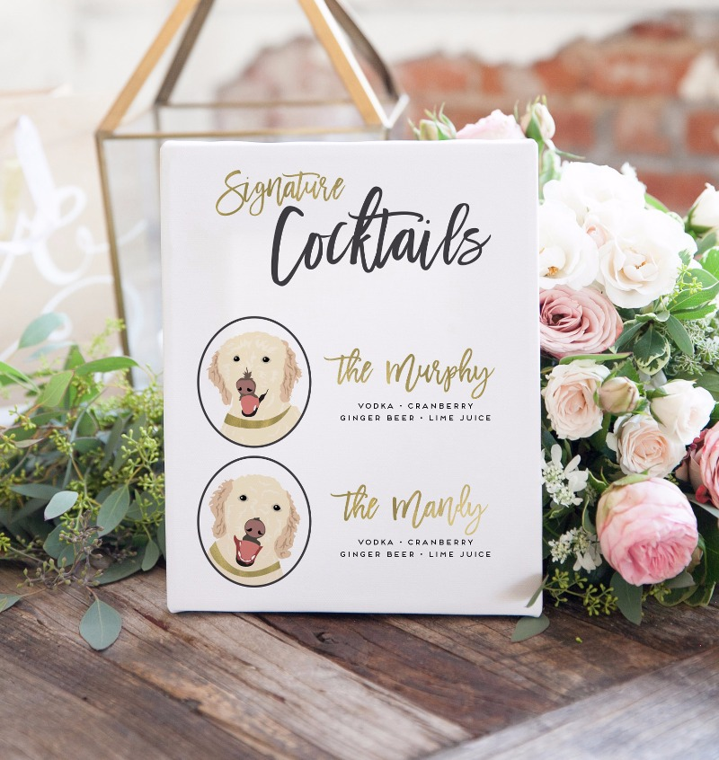 Signature drink signs that feature you pets as your drink inspirations! These amazing signs not only make your wedding bar SO fabulous