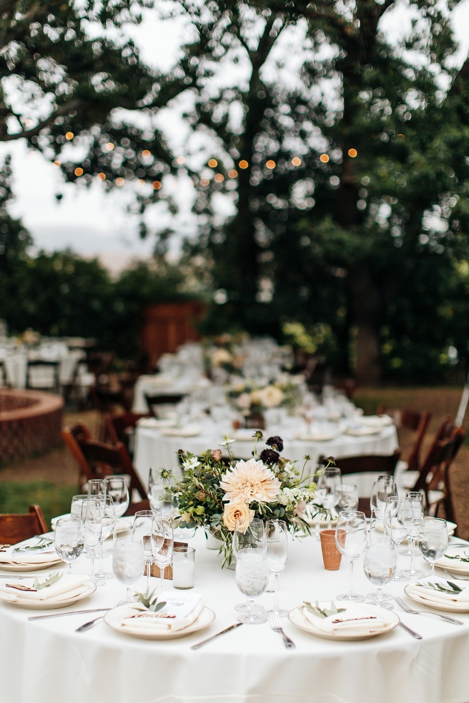 outdoor garden wedding reception