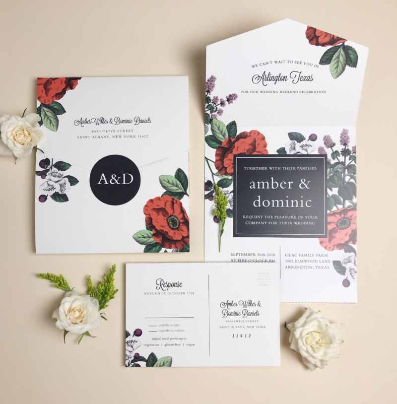 Our all new Seal & Send Wedding Invitations are here! They're an all in one wedding invite with a detachable RSVP card. So sleek