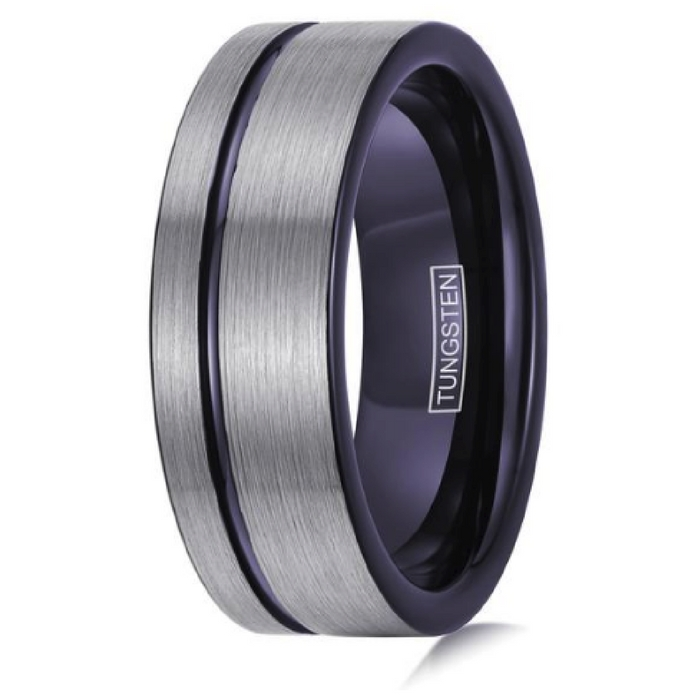 Mens 8mm Silver and Dark Purple Wedding Band. Crafted out of tungsten carbide and designed with a purple channel groove running through