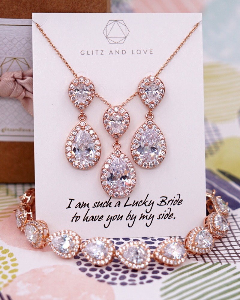 Rose Gold Bridesmaids jewelry set ( Earrrings, Necklace and Bracelet). Made with AAA cubic zirconia teardrop. Available in silver,