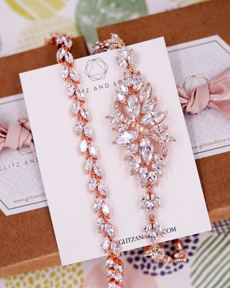 Rose Gold Cubic Zirconia Marquise Set, Earrings, Bracelet, brides, bridesmaid bridal shower gifts, wedding jewelry, blush pink, www