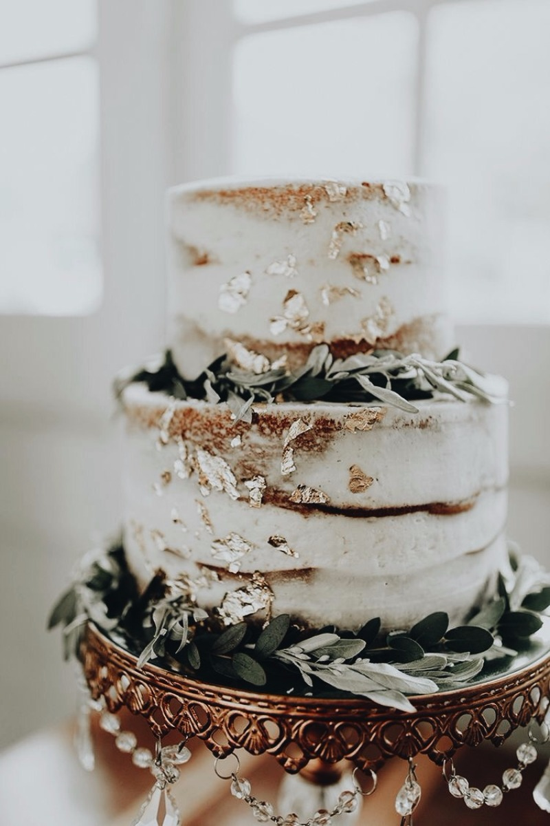 Gorgeous Gold Foiled Flecks on Naked Tiered Cake ~ sitting pretty on Opulent Treasures Gold Chandelier Cake Stand