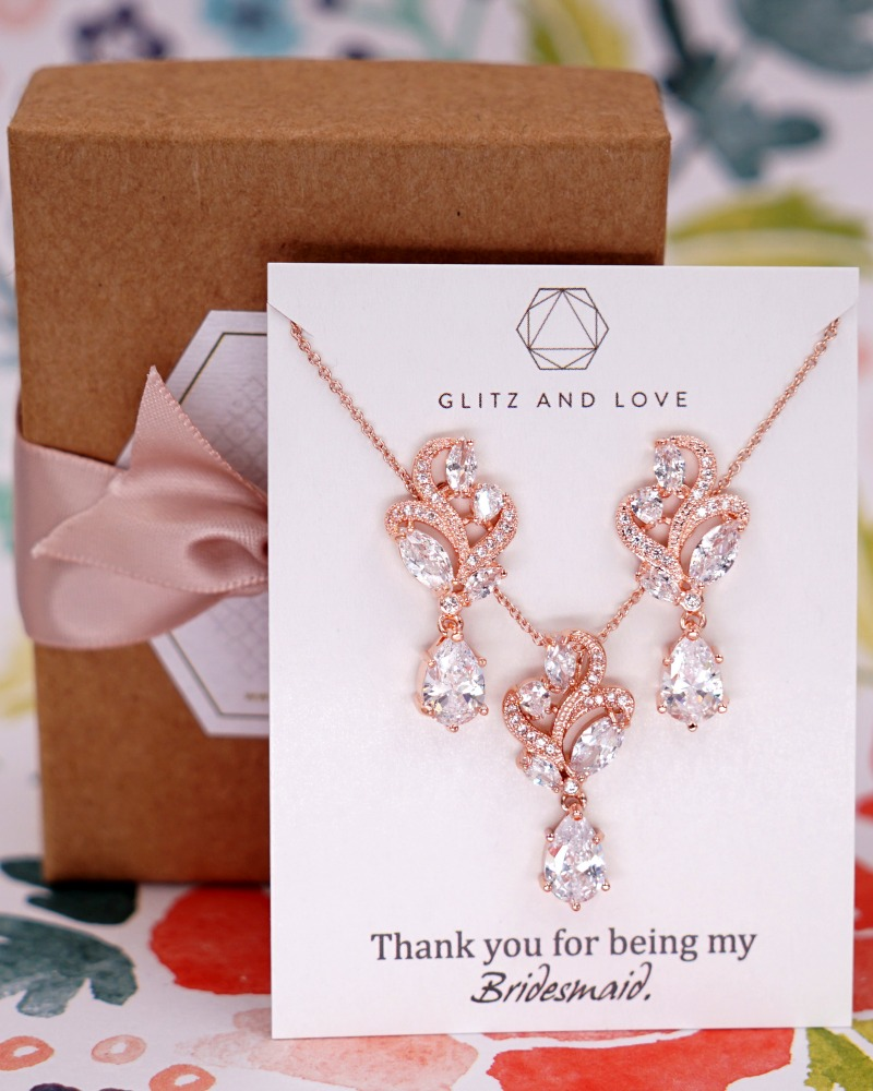 Rose gold marquise cut floral cubic zirconia jewelry set. Simple and timeless. Available in rose gold and silver. www.glitzandlove