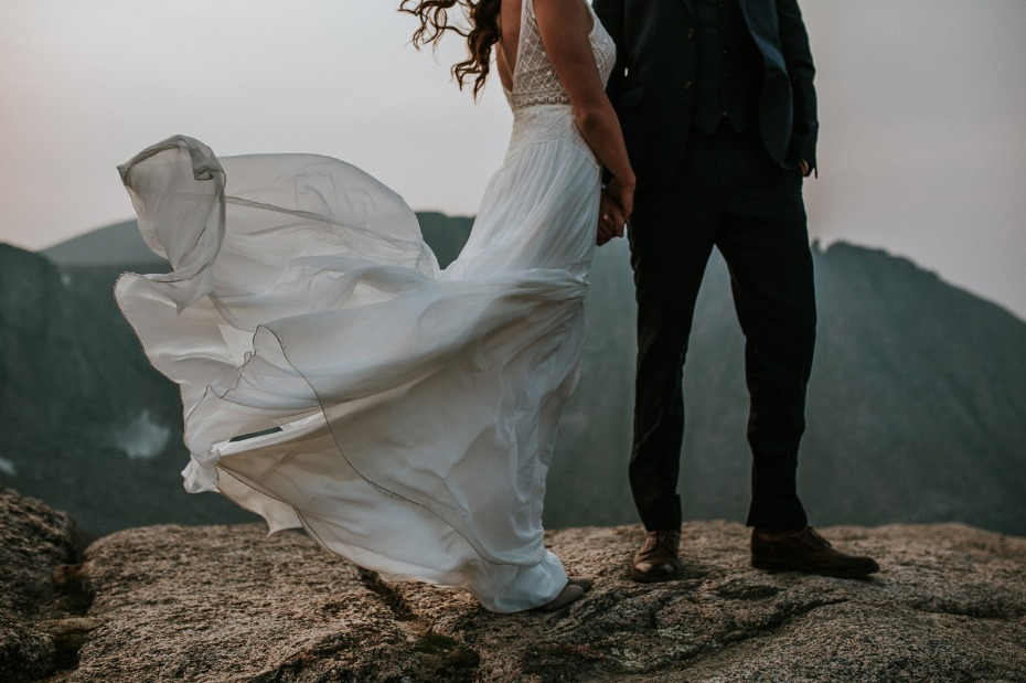 dramatic wedding dress photo