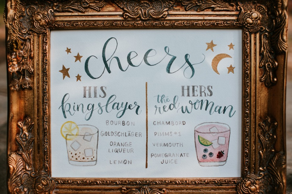 Game of Thrones themed bride and groom cocktails