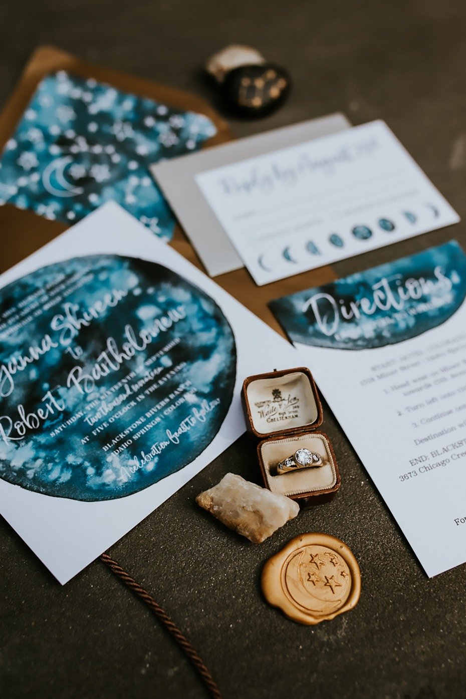 night sky themed wedding stationery