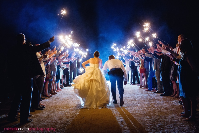 Perfect sparkler exit as a beautiful ending to an intimate beach wedding at The Gables, a sweet Victorain Inn, located in Long Beach