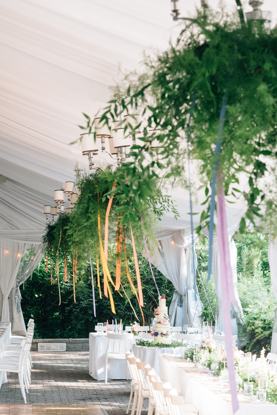 Hanging greenery and ribbon decor