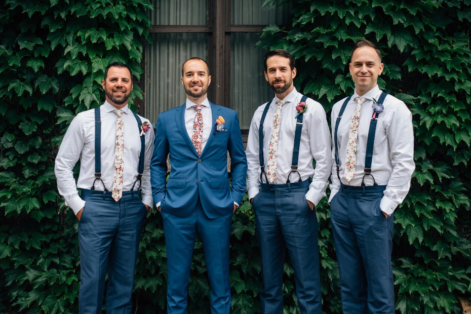 Floral ties for the groom and his men