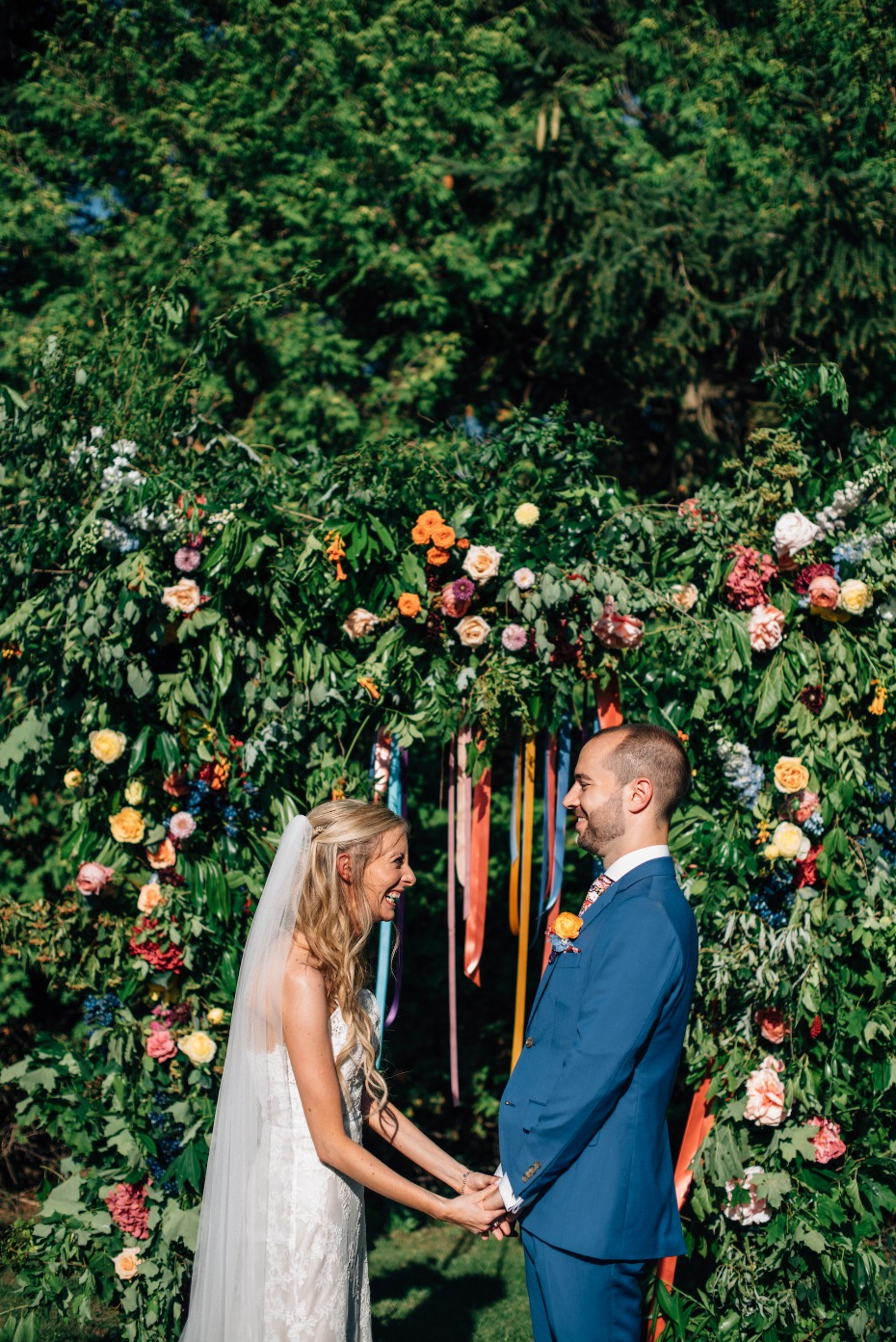 Flower arch with hanging ribbons