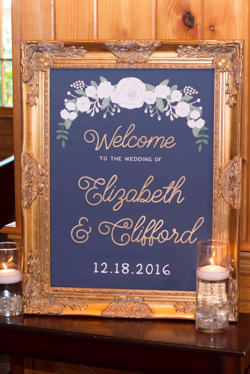 Custom gold and navy wedding signage. Create the signage of your dreams with the design team at Miss Design Berry. We custom make every