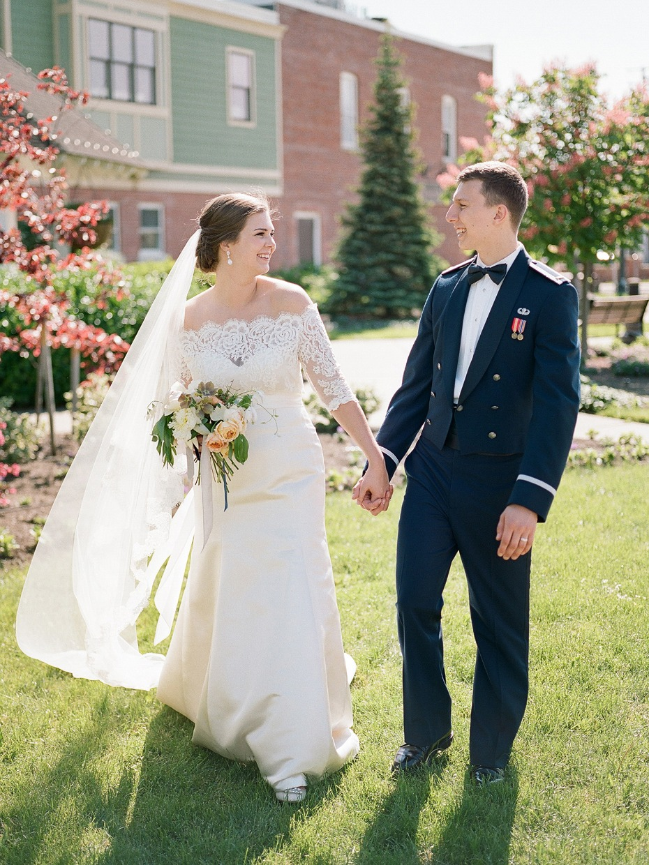 classic bridal style with a groom in his dress blues