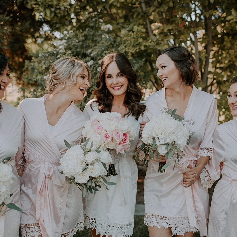 How radiant is our beautiful bride Nicole ✨ wearing the Lauren robe with her Bridesmaids before her special day! 💗 LR xx