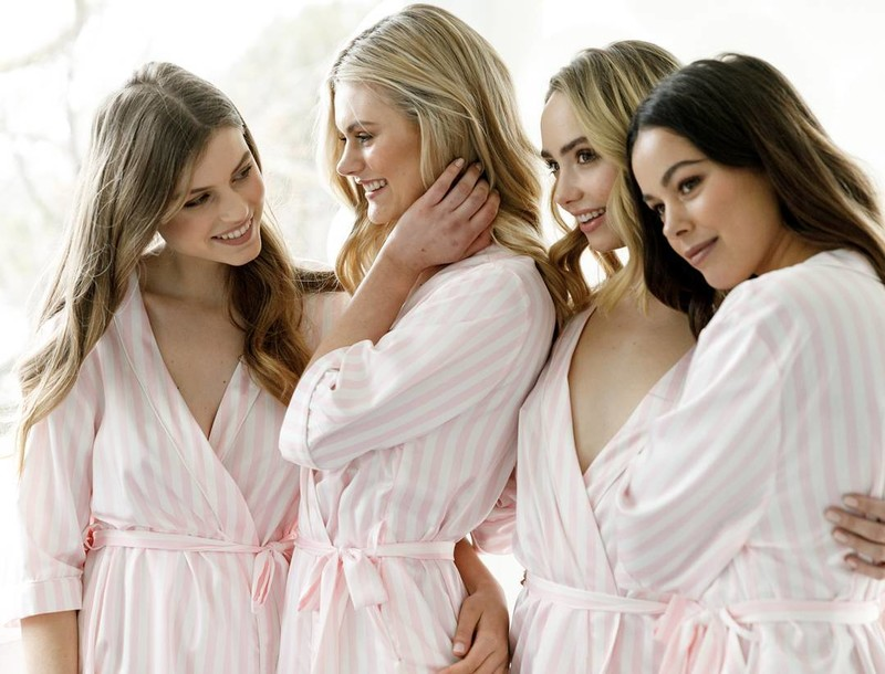 These girls 💗in the 'Lottie' stripe robe.Gift your bridesmaids with robes that you can all wear well after the bouquet is thrown