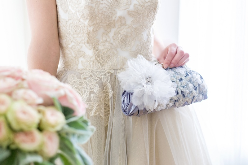 Add a touch of color to your bridal look with silver accents.