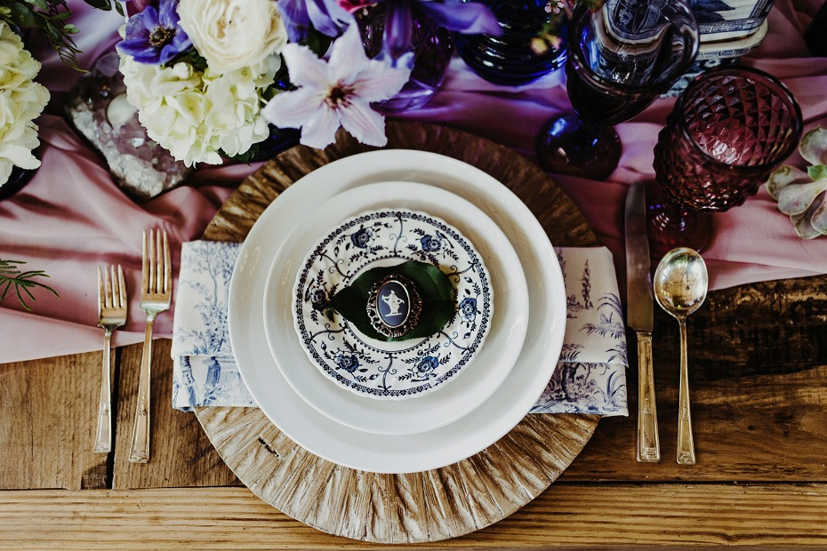 Cameo place setting with vintage china