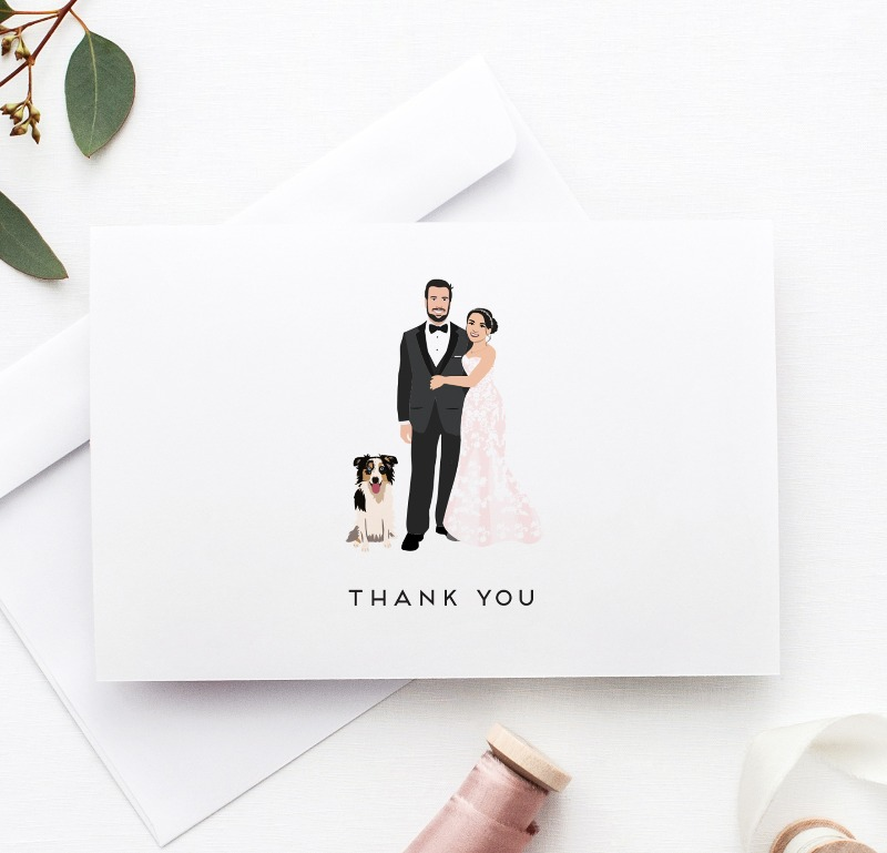Put the YOU in your Thank You Cards! Custom illustrated thank you cards that will remind guests of your wedding day.